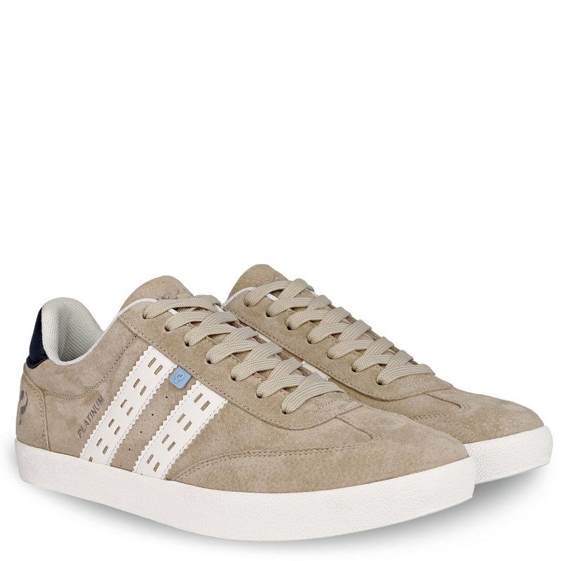 Q1905 Heren Sneaker Platinum - Zacht Taupe/Wit/Donkerblauw
