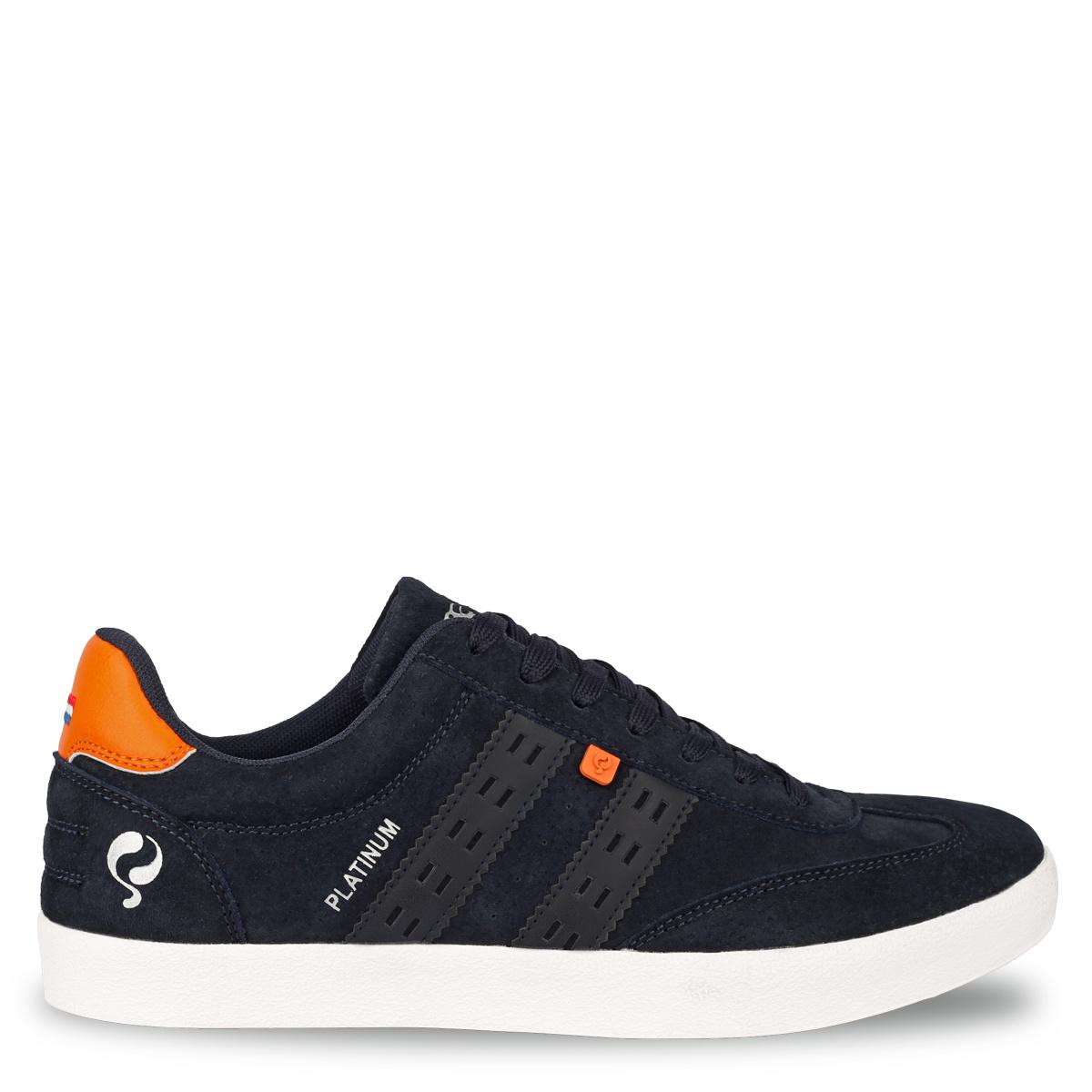 Heren Sneaker Platinum Donkerblauw Oranje