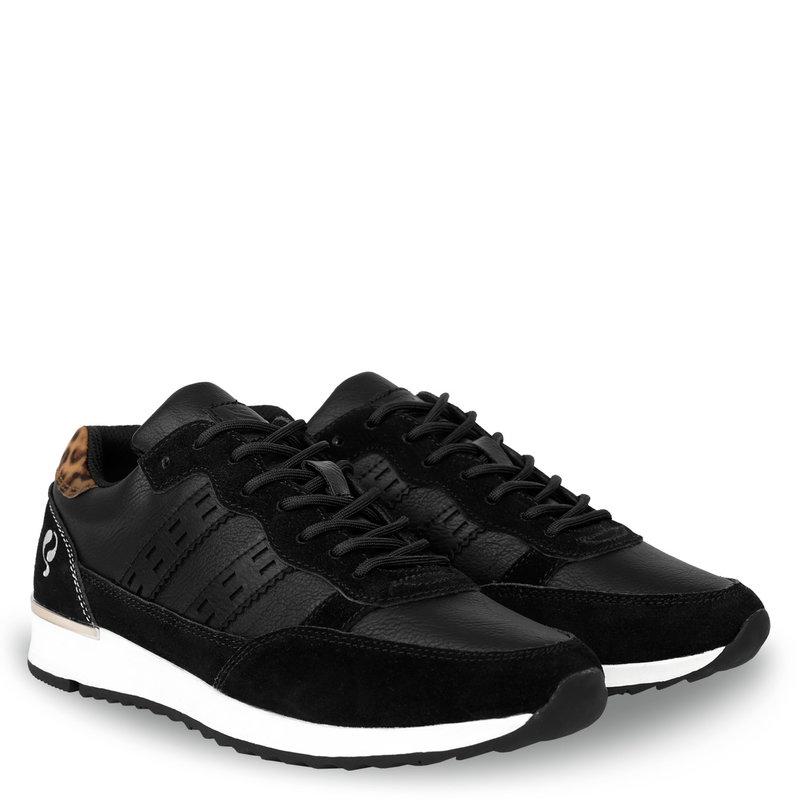 Q1905 Dames Sneaker Voorschoten - Zwart/Leopard