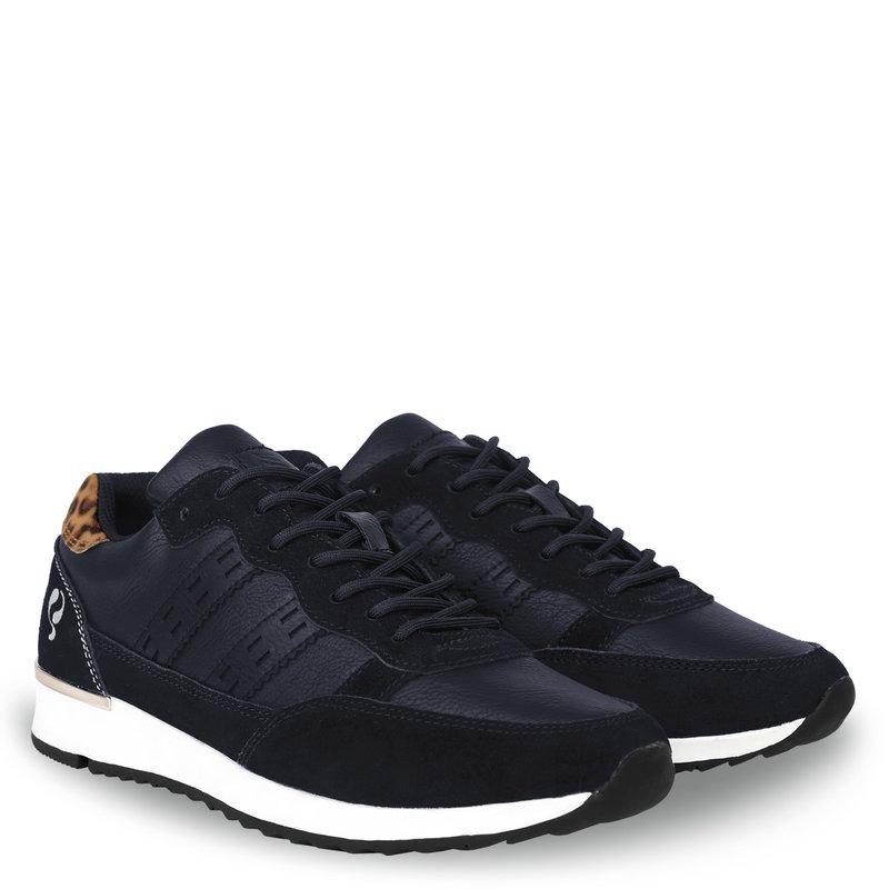 Q1905 Women's Sneaker Voorschoten - Dark blue/Leopard