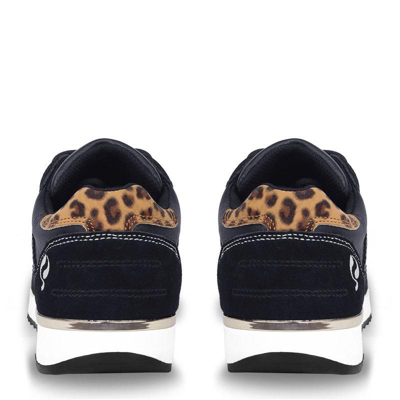 Q1905 Dames Sneaker Voorschoten - Donkerblauw/Leopard