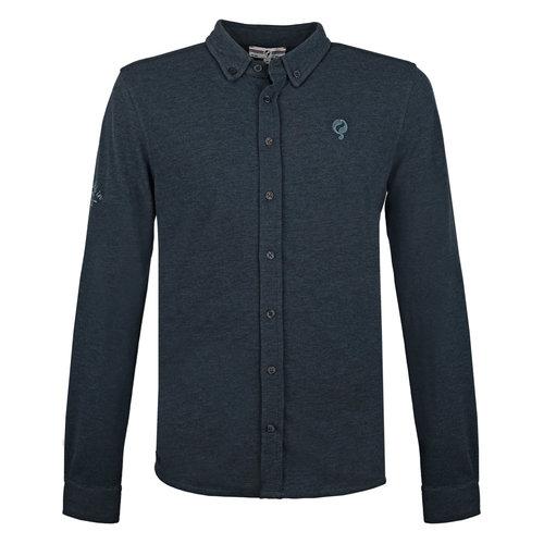 Heren Pique Overhemd Bunschoten - Denim Blauw