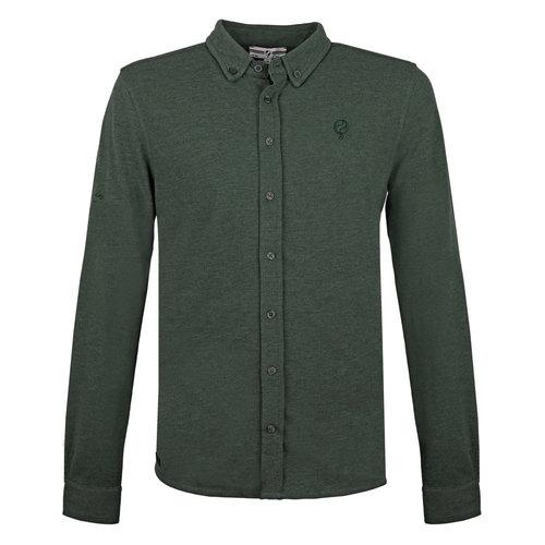 Heren Pique Overhemd Bunschoten - Bosgroen