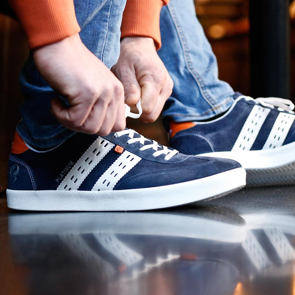 Heren Sneaker Platinum - Donkerblauw/Wit