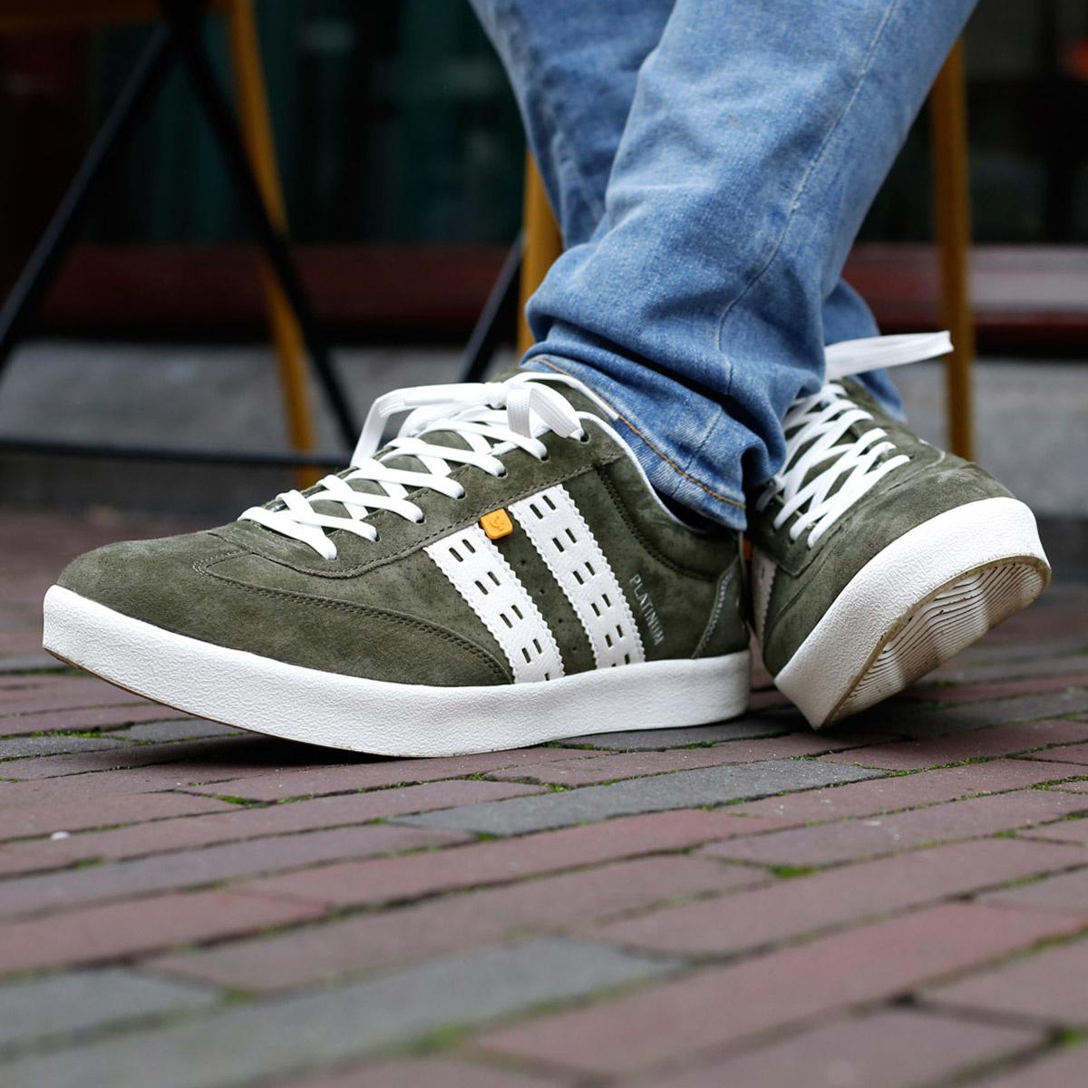 2 voor €129 - Heren Sneaker Platinum - Donkergroen/Wit