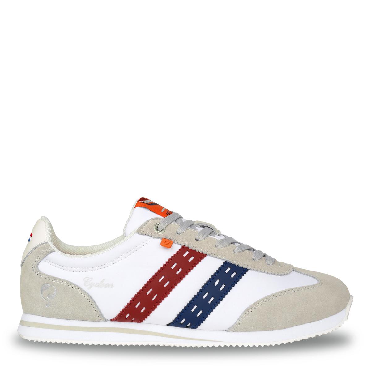 2 voor €99 - Heren Sneaker Cycloon - Wit/Rood-Blauw