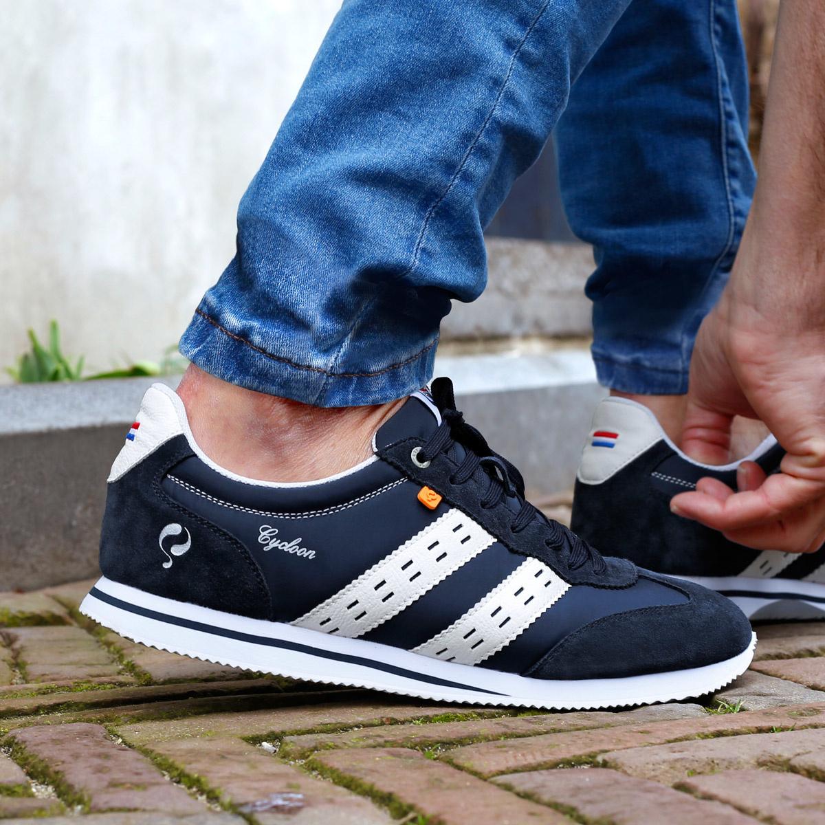 Heren Sneaker Cycloon - Donkerblauw/Wit