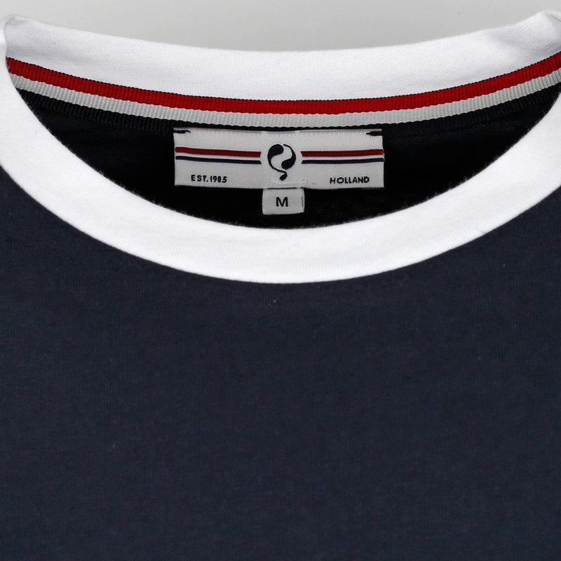 Q1905 Heren T-shirt Captain - Donkerblauw/Wit