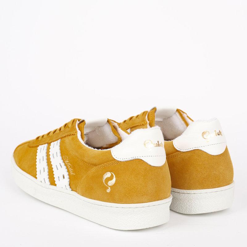 Q1905 Men's Sneaker Medal - Ochre Yellow/White