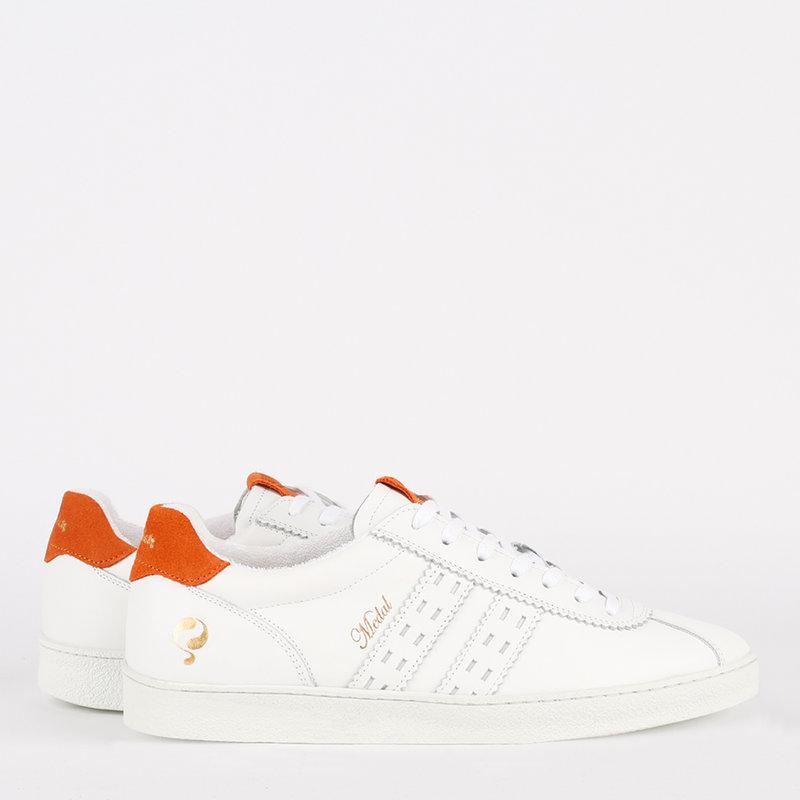 Q1905 Heren Sneaker Medal - Wit/Oranje
