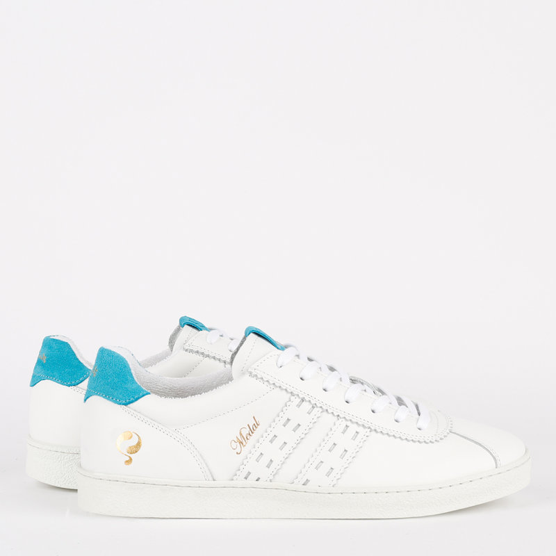 Q1905 Women's Sneaker Medal - White/Aqua Blue