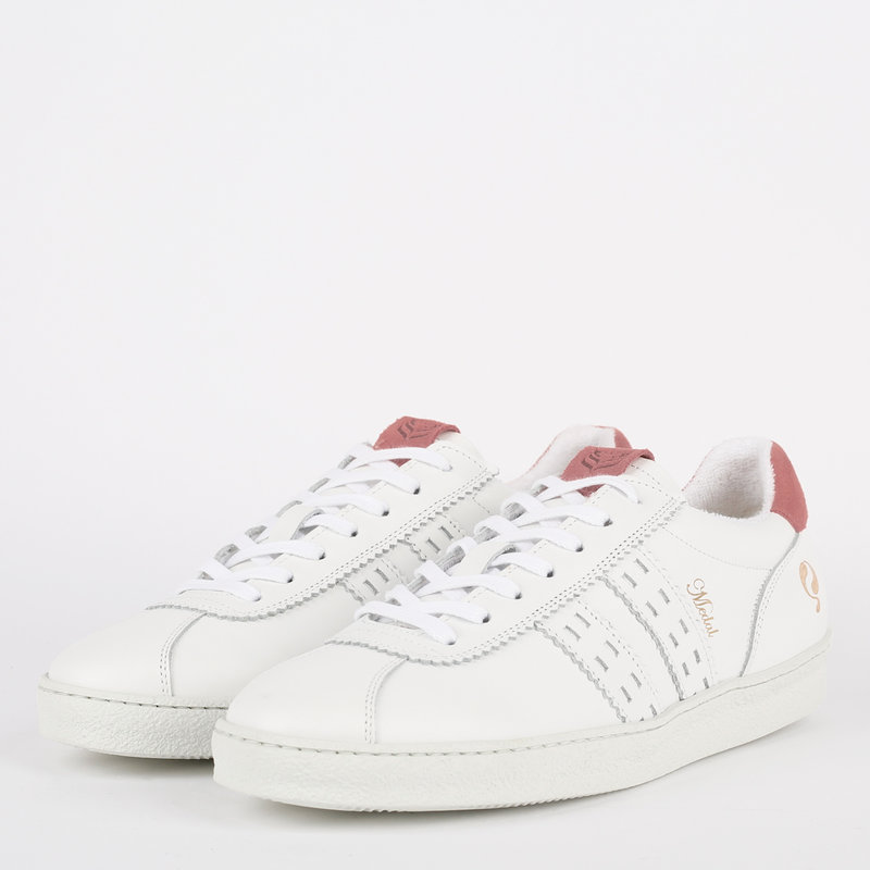 Q1905 Dames Sneaker Medal - Wit/Oud Roze