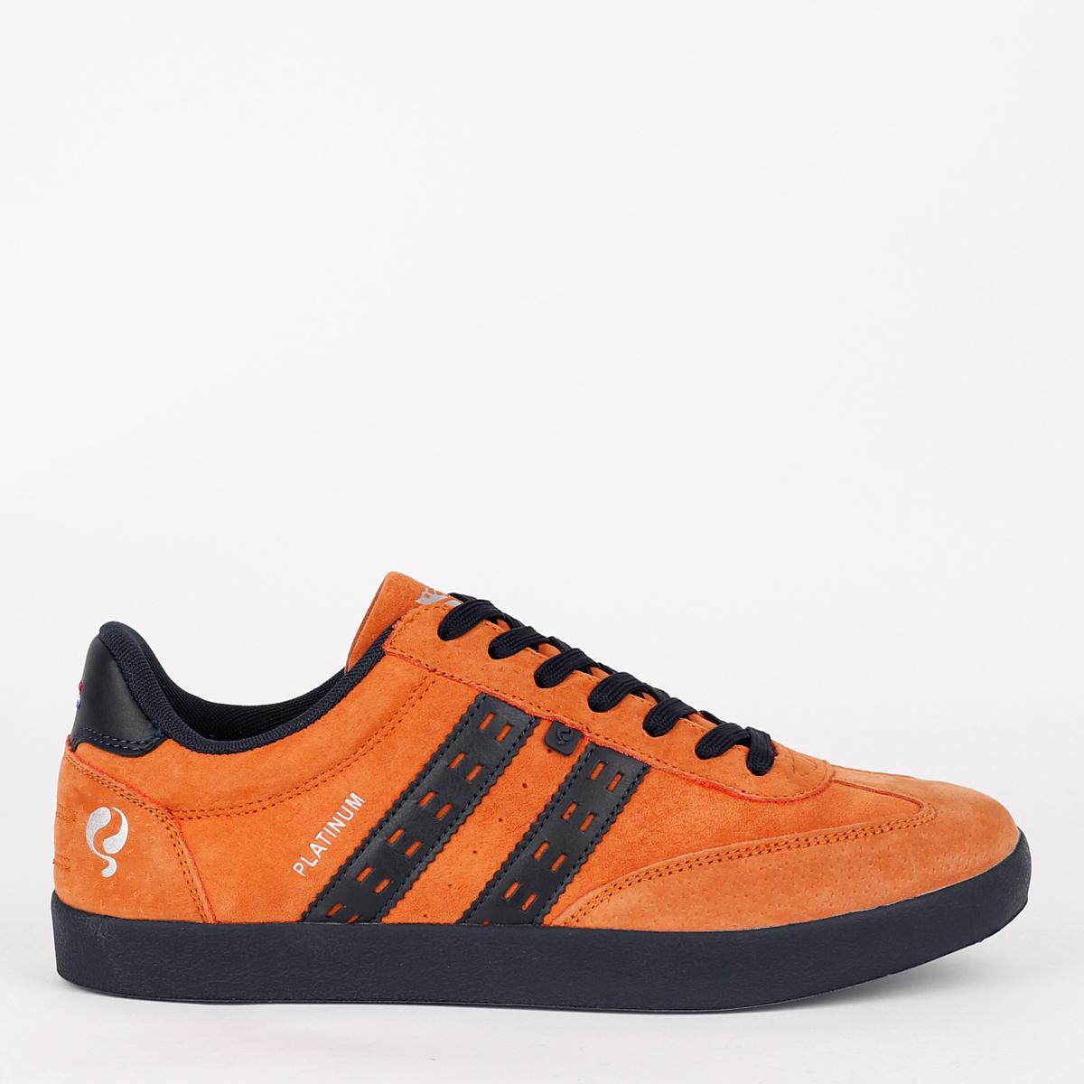 2 voor €129 - Heren Sneaker Platinum - Roest Oranje/Donkerblauw
