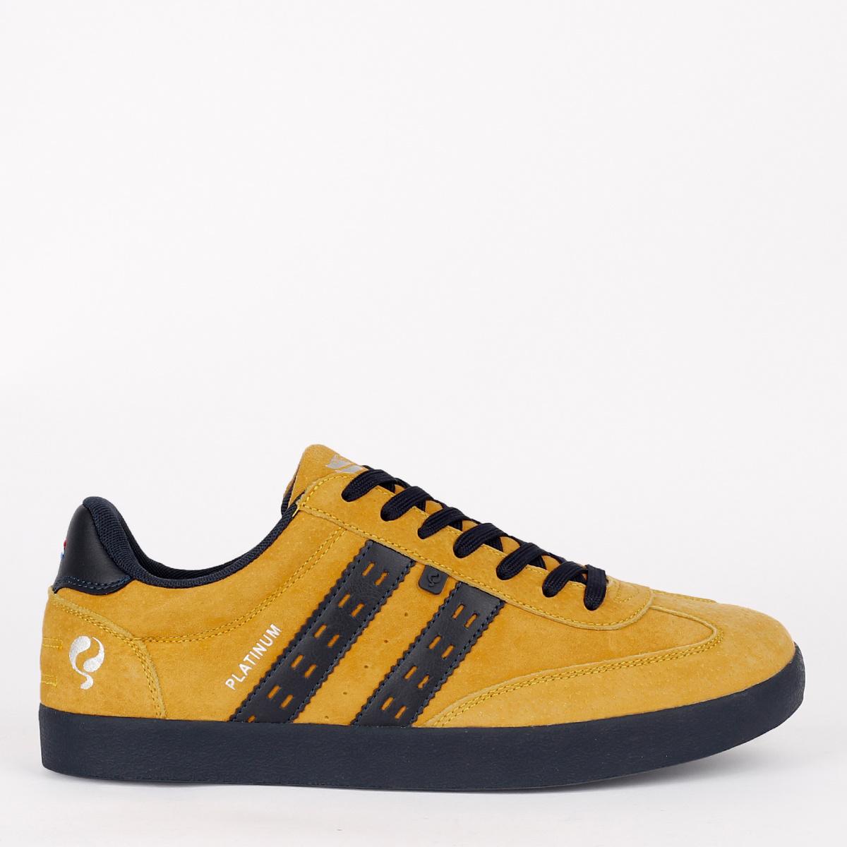 2 voor €129 - Heren Sneaker Platinum - Oker Geel/Donkerblauw