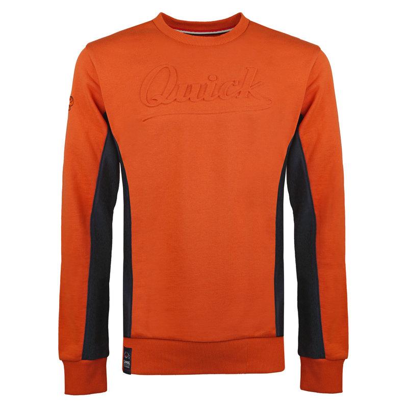 Q1905 Heren Trui Voorhout - Roest Oranje/Donkerblauw