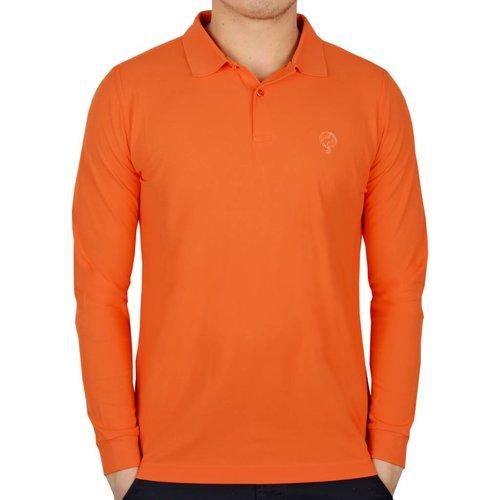 Men's Longsleeve Golf Polo JL High Orange