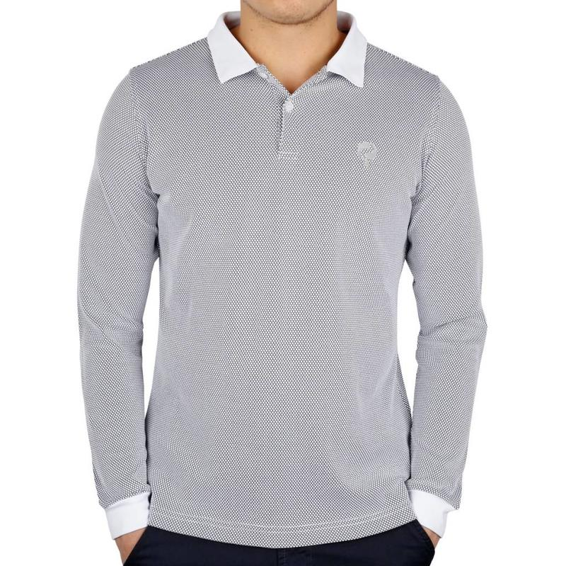 Q1905 Men's Longsleeve Golf Polo JL High White / Black