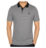Q1905 Men's Golf Polo Stripe JL Punch Black / White
