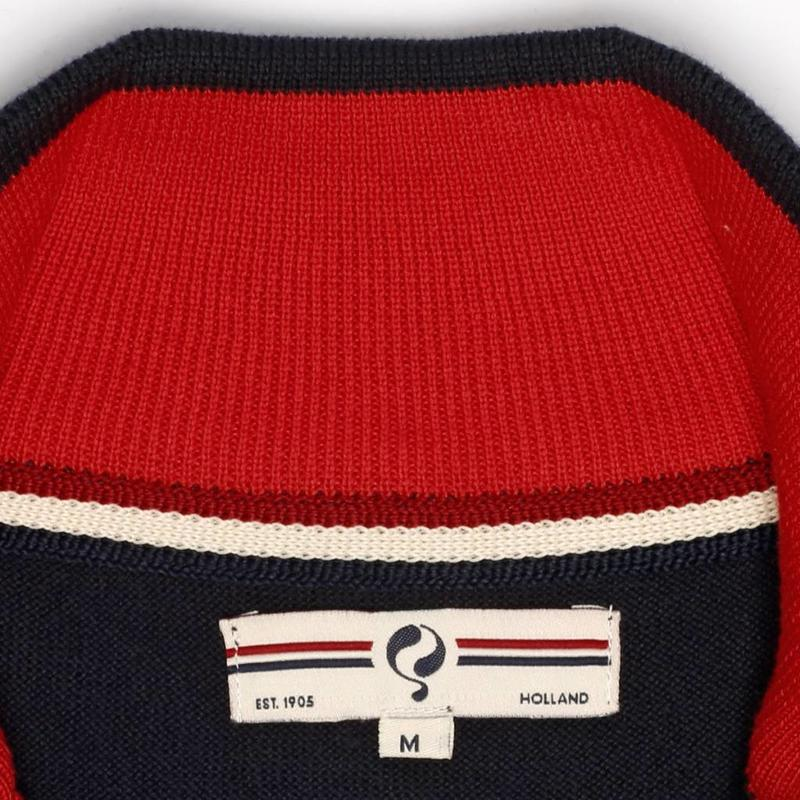 Q1905 Heren Pullover Stoke - Deep Navy / Chinese Red