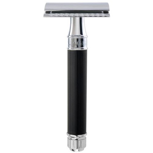 Edwin Jagger Rubber Coating Double Edge Safety Razor Zwart