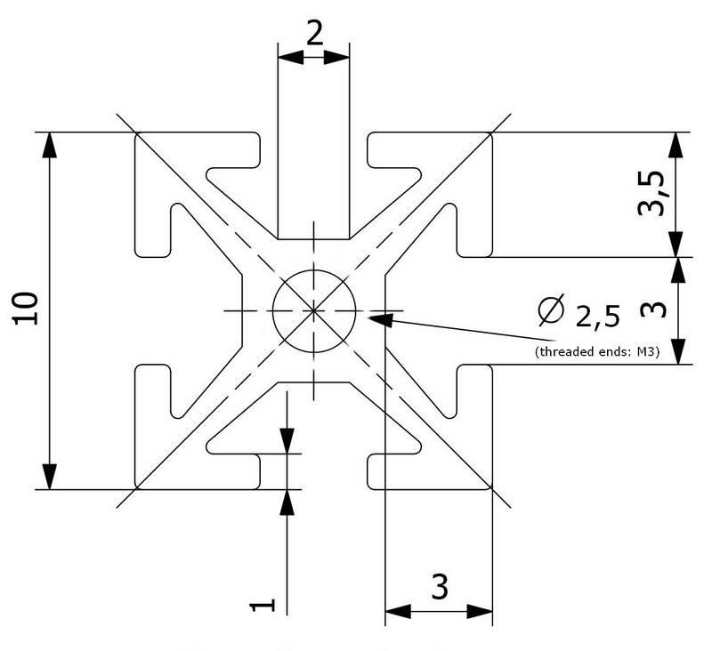 MakerBeam - 10x10mm aluminum profile 8 pieces of 60mm black anodised makerBeam