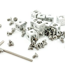 MakerBeam - 10x10mm aluminum profile Corner cubes (12p) clear for MakerBeam - 10mmx10mmx10mm