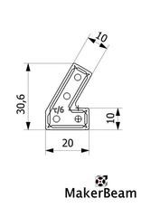 MakerBeam - 10x10mm aluminum profile 12 pieces of MakerBeam 60 degree brackets