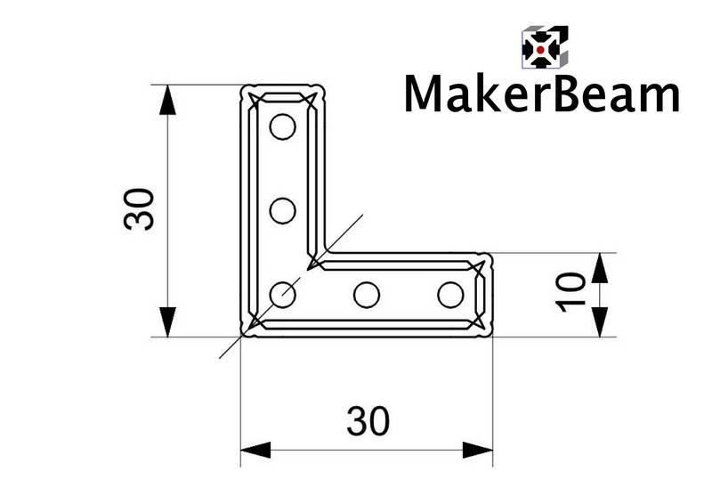MakerBeam - 10x10mm aluminum profile 12 pieces of MakerBeam Right angle brackets (MakerBeamXL and OpenBeam compatible)