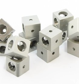 MakerBeamXL - 15x15mm aluminum profile Corner cubes clear (12p) - 15mmx15mmx15mm