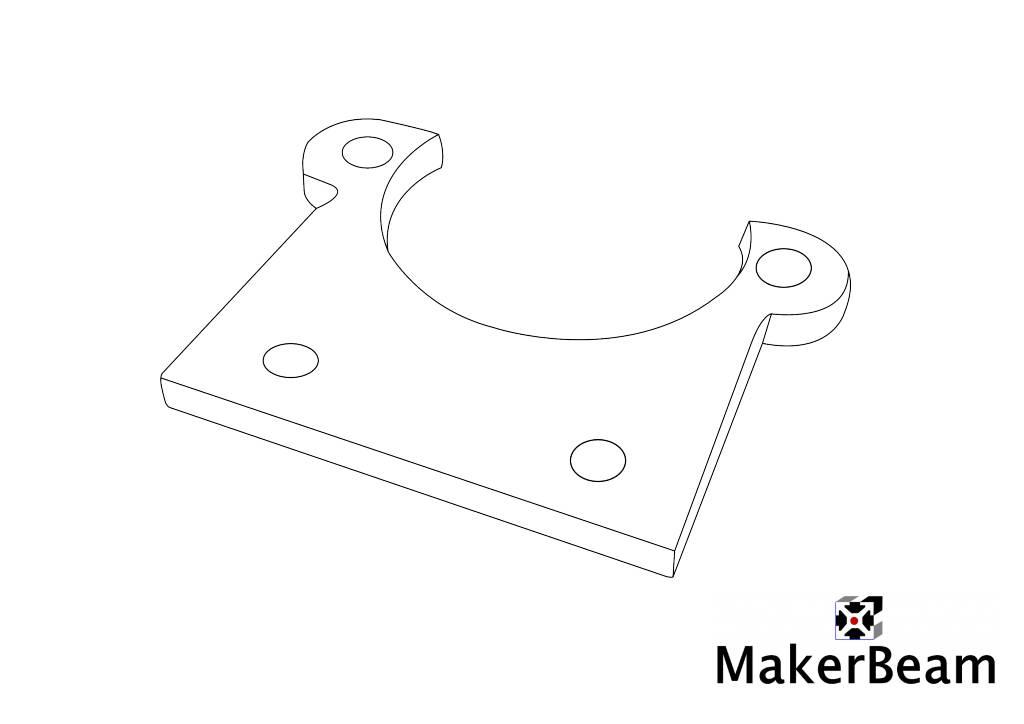 MakerBeam - 10x10mm aluminum profile 1 piece Stepper bracket flat for MakerBeam