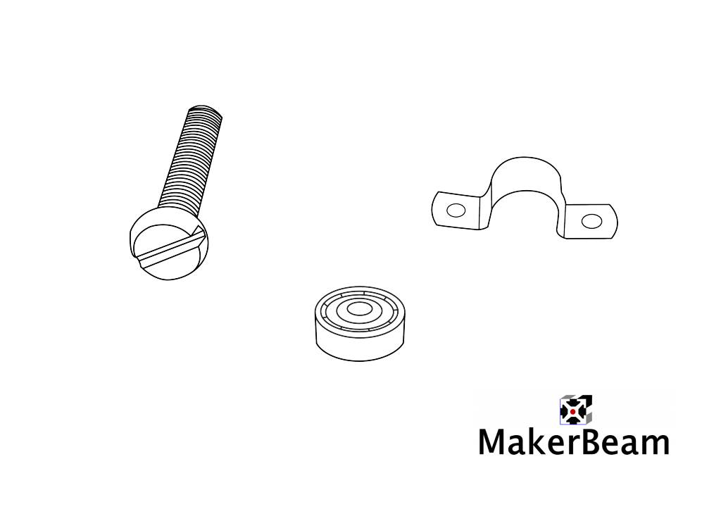 MakerBeam - 10x10mm aluminum profile 5 pieces of hinge bearings for Makerbeam (package comes with MakerBeam square headed bolts)