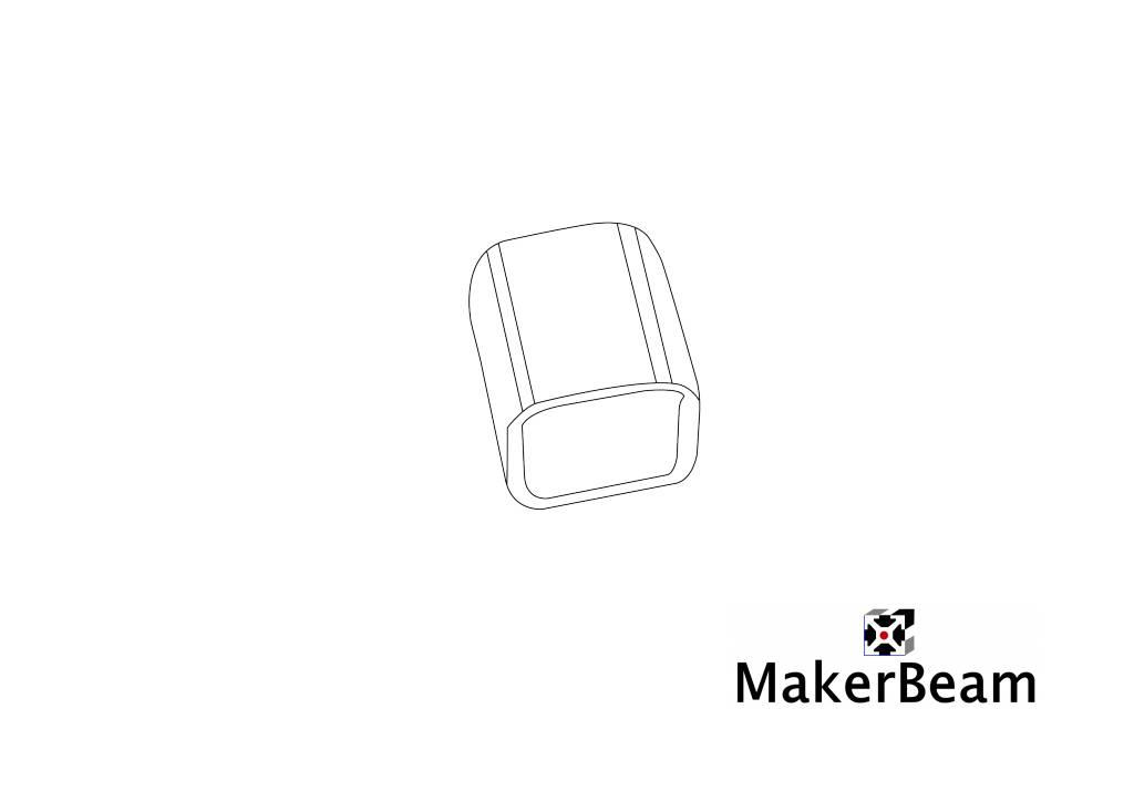 MakerBeam - 10x10mm aluminum profile 4 pieces of black Vinyl End Caps for MakerBeam