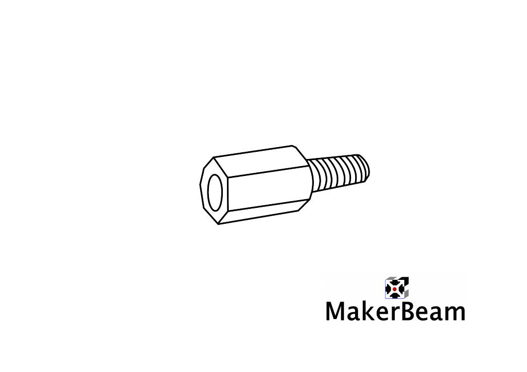 MakerBeam - 10x10mm aluminum profile 4 pieces of standoffs or spacers