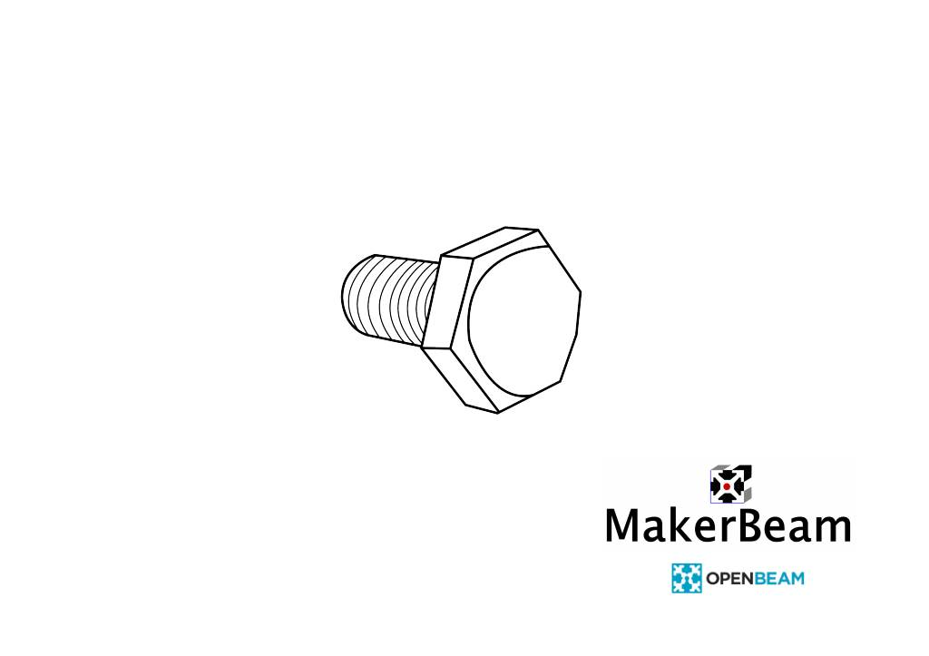 MakerBeamXL - 15x15mm aluminum profile 100 pieces, M3, 6mm, hexagon head bolts for 15x15mm ( MakerBeamXL and OpenBeam)