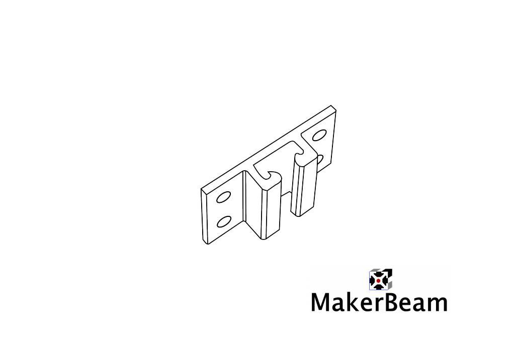 MakerBeam - 10x10mm aluminum profile 4 pieces of MakerBeam vertical guidance brackets