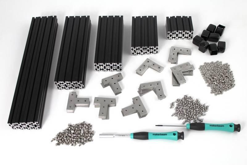 MakerBeamXL - 15x15mm aluminum profile Black Starter Kit Regular MakerBeamXL