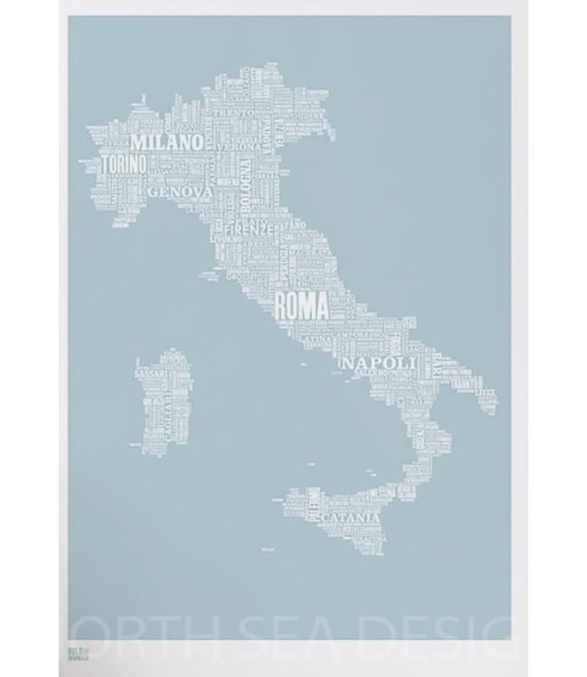 Bold & Noble Screenprint Type Map Italy in  Blue or grey