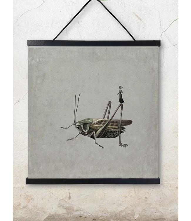 Vanilla Fly Print Sprinkhaan | 50x50cm Poster Grasshopper