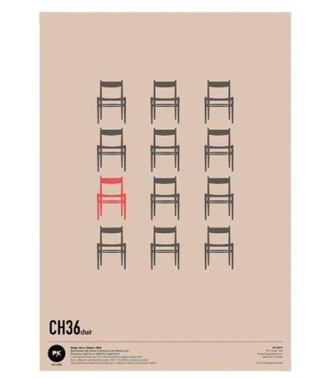 Pk Posters™ Poster Wegner CH36 CHAIR