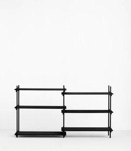Moebe Shelving System Low Double Black