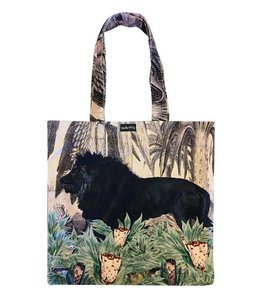Vanilla Fly Velvet Tote Bag Black Lion