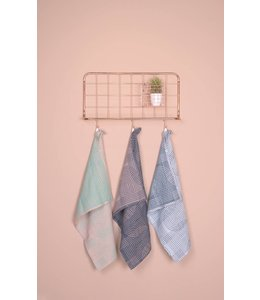 Present Time Tea towel Retro grid black