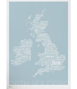 Bold & Noble Type Map UK blauw