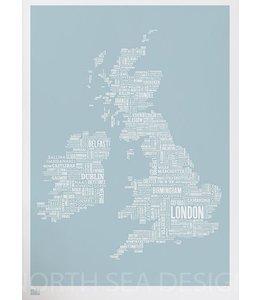 Bold & Noble Type Map UK blauw