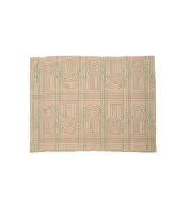 Present Time Tea towel Retro grid Peach Pink