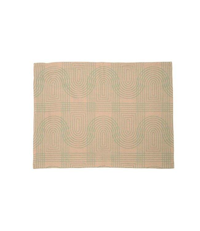 Present Time Tea towel Retro grid  Peach Pink