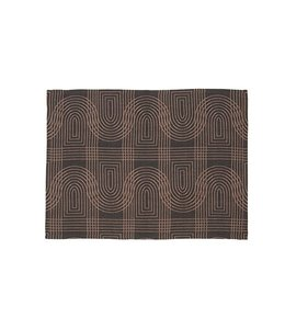 Present Time Tea towel Retro grid black