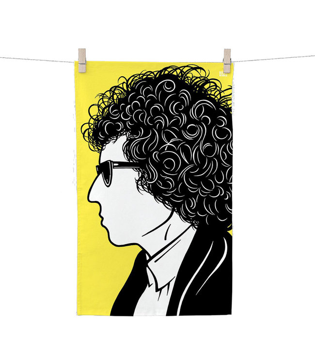 Bold & Noble Icons Tea Towel Bob Dylan yellow