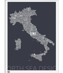 Bold & Noble Type Map Italy