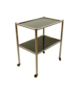 Vintage Bauhaus Metal & Glass Serving Trolley